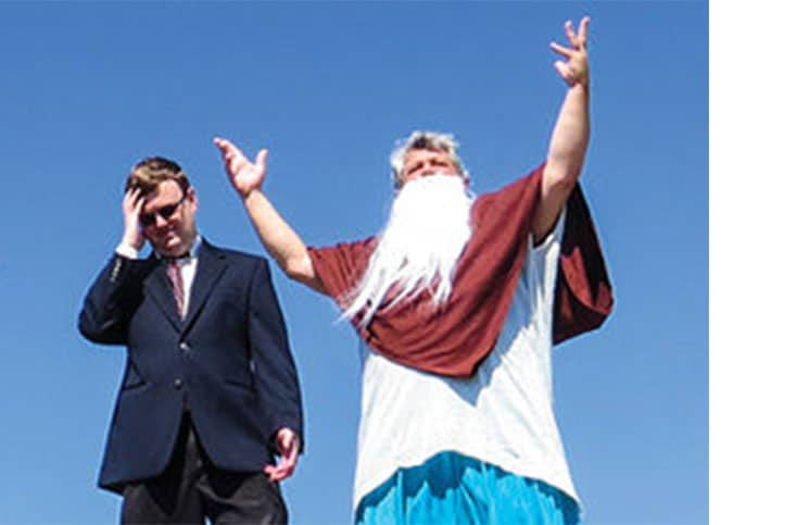 "Bob Porzio (right) as God and Jim Esson as his attorney in ""Omega."